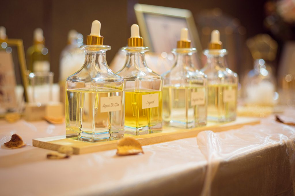 Wedding photo album & perfume bar decoration